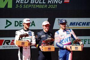 Podium: Race winnaar Liam Lawson, AF Corse, tweede plaats Marco Wittmann, Walkenhorst Motorsport, derde plaats Maximilian Götz, Haupt Racing Team