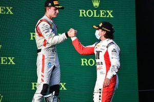 Roman Stanek, Hitech Grand Prix and Enzo Fittipaldi, Charouz Racing System celebrate on the podium