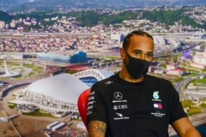 Pole man Lewis Hamilton, Mercedes-AMG F1, in the post Qualifying Press Conference