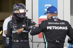Valtteri Bottas, Mercedes-AMG F1, congratulates Lewis Hamilton, Mercedes-AMG F1, on pole position on Parc Ferme