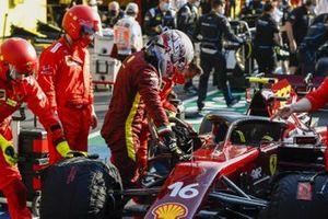Sebastian Vettel, Ferrari, in the pit lane during a red flag stoppage