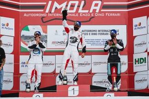 Podio Gara 2: Gianmarco Quaresmini, Tsunami RT ,vince la Gara, secondo posto, Simone Iaquinta, Ghinzani Arco Motorsport, terzo posto, Stefano Monaco, Dinamic Motorsport (Modena)