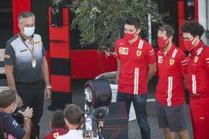 Mario Isola, Racing Manager, Pirelli Motorsport, Charles Leclerc, Ferrari, Sebastian Vettel, Ferrari and Mattia Binotto, Team Principal Ferrari with the Pirelli Pole Postion Award for Ferrari 1000th Race