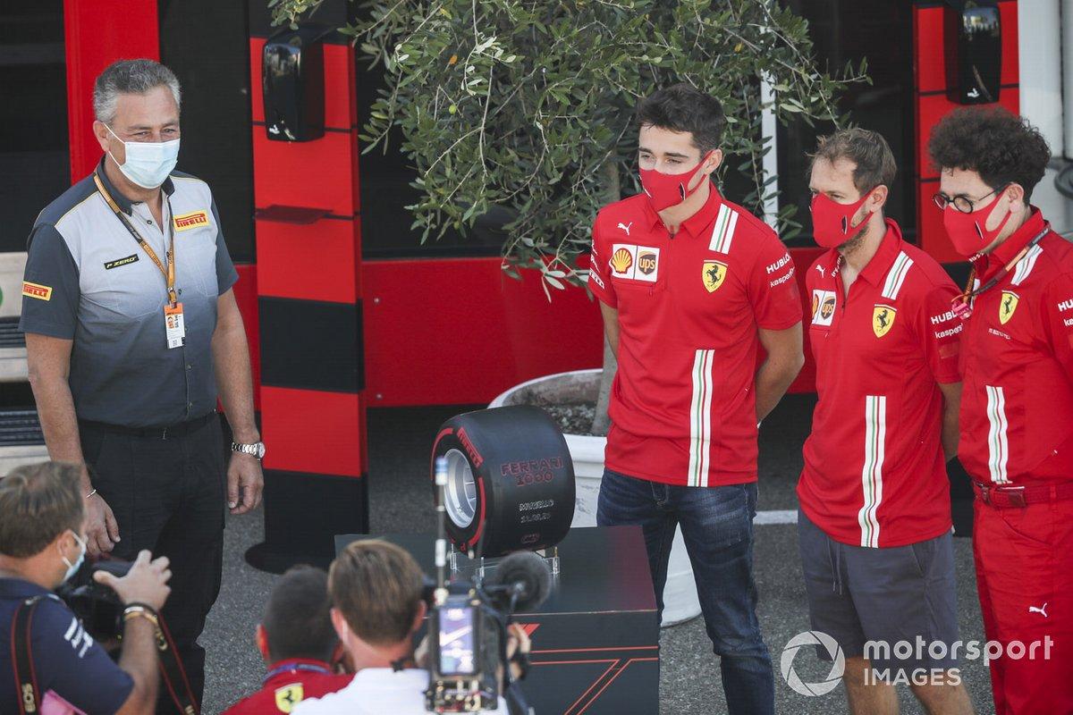 Mario Isola, Racing Manager, Pirelli Motorsport, Charles Leclerc, Ferrari, Sebastian Vettel, Ferrari y Mattia Binotto, Team Principal Ferrari