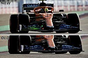 McLaren MCL35 front wing comparison