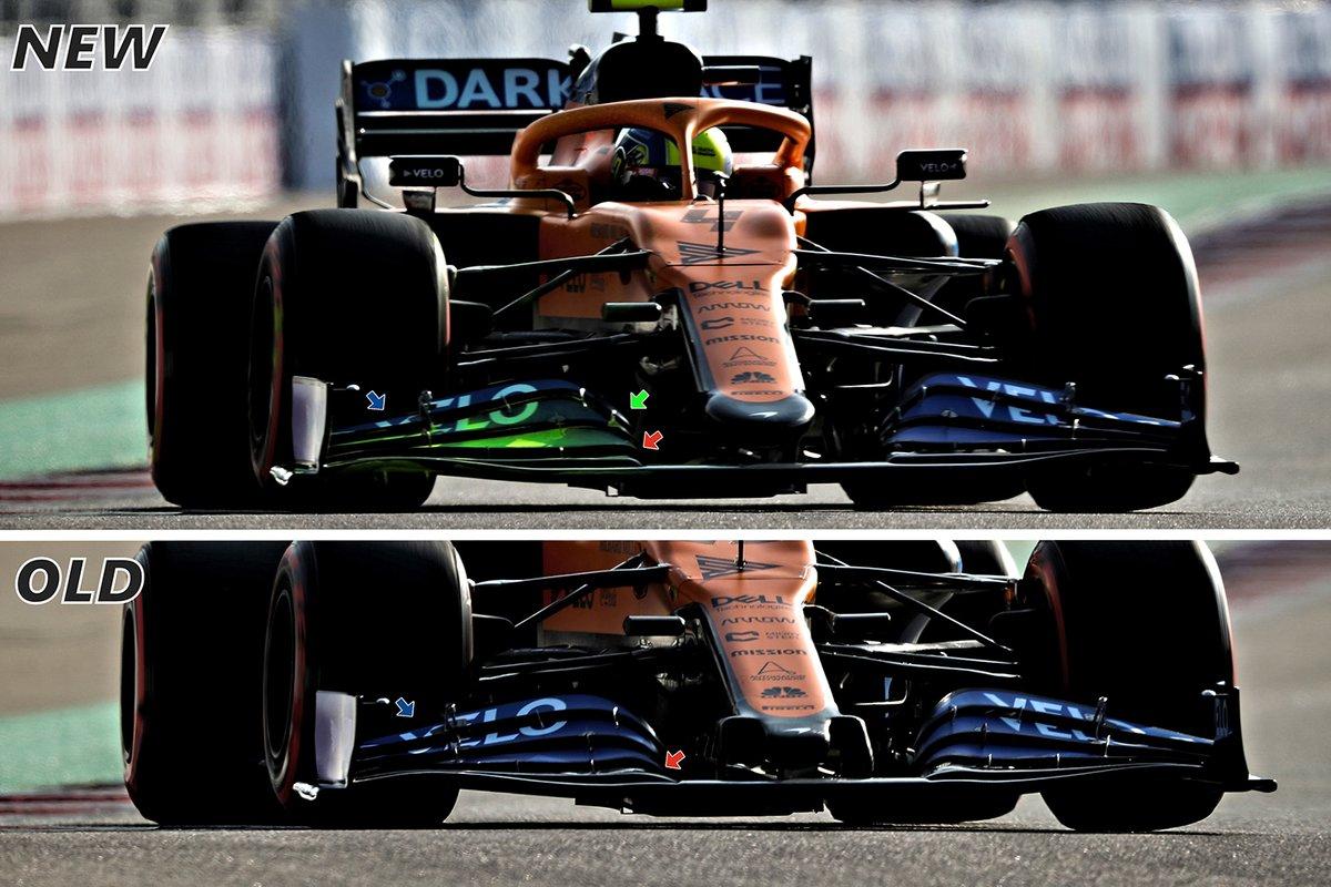 McLaren MCL35: Frontflügel-Vergleich (neu/alt)