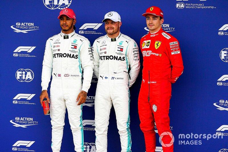 Polesitter Valtteri Bottas, Mercedes AMG F1, second place Lewis Hamilton, Mercedes AMG F1, third place Charles Leclerc, Ferrari
