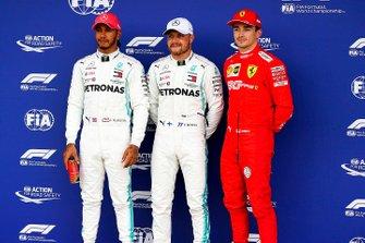 Le poleman Valtteri Bottas, Mercedes AMG F1, deuxième place Lewis Hamilton, Mercedes AMG F1, troisième place Charles Leclerc, Ferrari