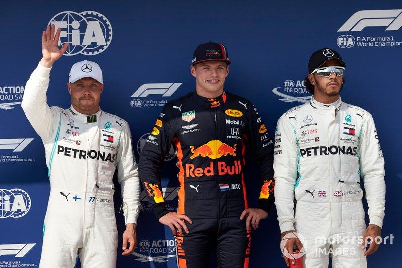 Sıralama ilk 3: 2. Valtteri Bottas, Mercedes AMG F1, pole Max Verstappen, Red Bull Racing, 3. Lewis Hamilton, Mercedes AMG F1