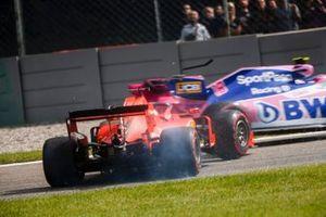 Lance Stroll, Racing Point RP19, Sebastian Vettel, Ferrari SF90 spins,