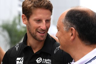 Romain Grosjean, Haas F1 Team arrives at the track
