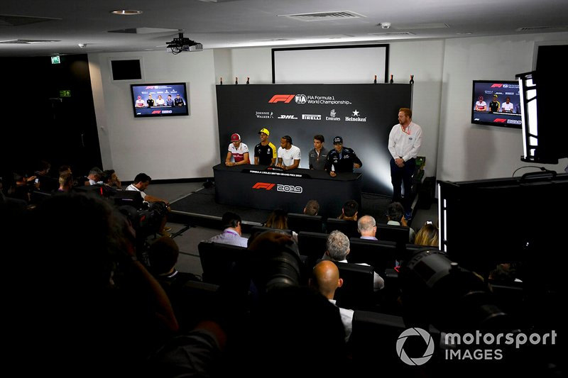 Antonio Giovinazzi, Alfa Romeo Racing, Daniel Ricciardo, Renault F1 Team, Lewis Hamilton, Mercedes AMG F1, Lando Norris, McLaren and George Russell, Williams Racing in the Press Conference