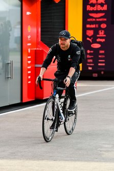 Valtteri Bottas, Mercedes AMG F1 arrives on a bike