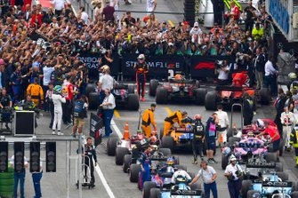 Max Verstappen, Red Bull Racing, 1st position, and the rest of the drivers in Parc Ferme at the end of the race