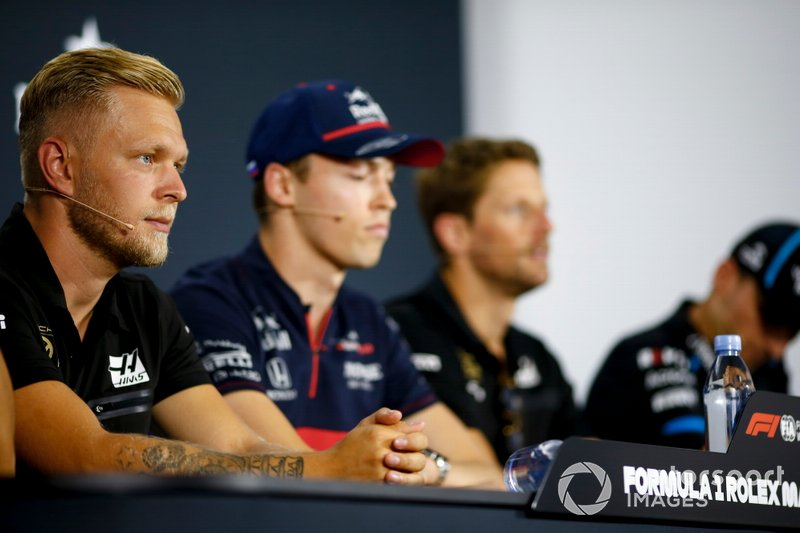 Kevin Magnussen, Haas F1, Daniil Kvyat, Toro Rosso, Romain Grosjean, Haas F1 and Robert Kubica, Williams Racing in Press Conference