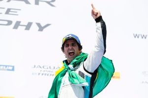 Sérgio Jimenez, Jaguar Brazil Racing celebrates victory on the podium