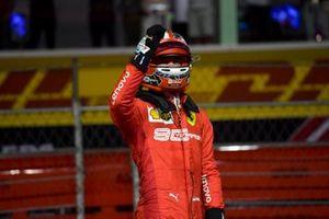 Pole man Charles Leclerc, Ferrari, celebrates on arrival in Parc Ferme