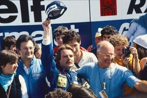Podium: Race winner Keke Rosberg, Williams