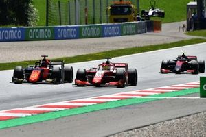 Mick Schumacher, Prema Racing, leads Nobuharu Matsushita, MP Motorsport, and Callum Ilott, UNI-Virtuosi
