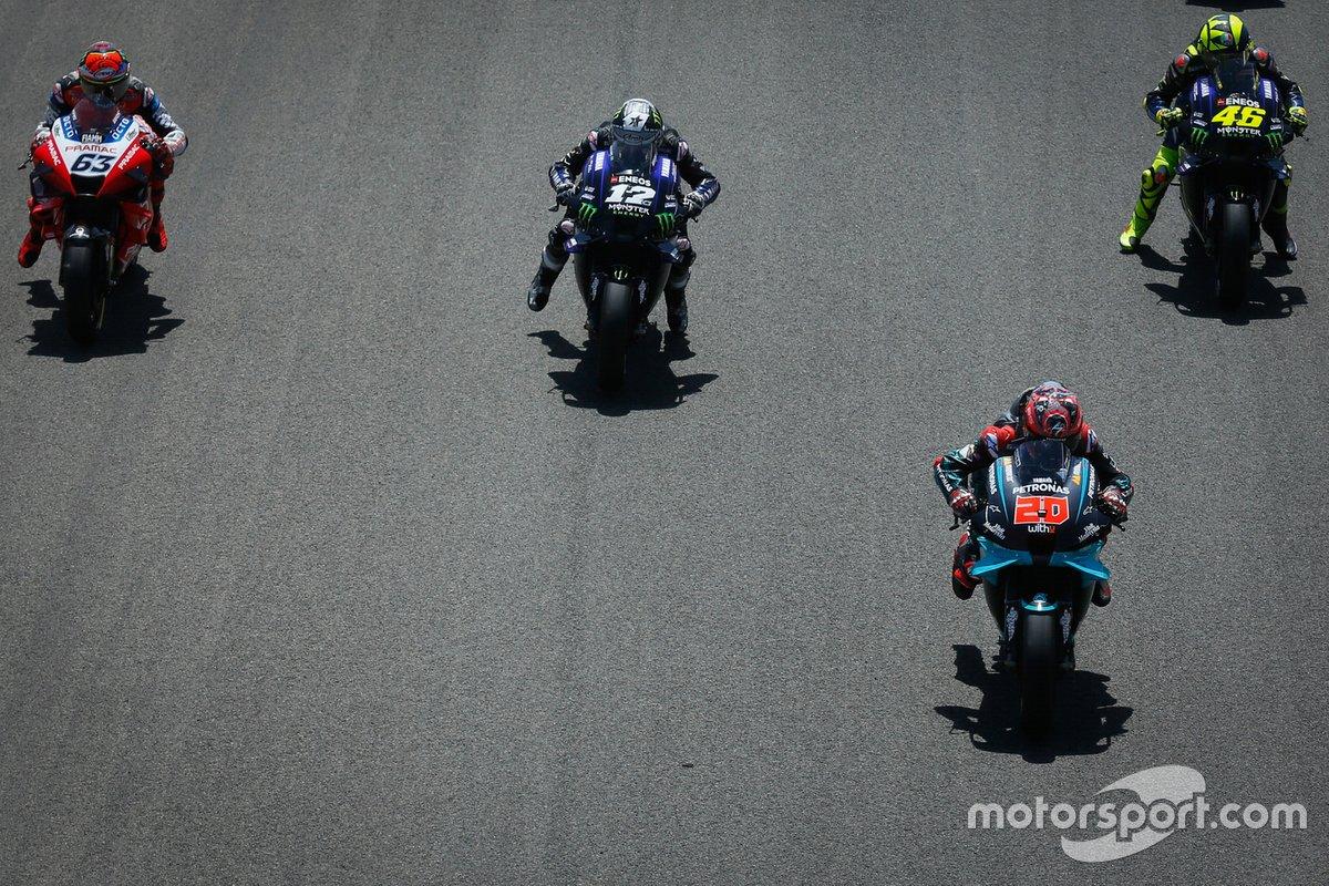 Maverick Viñales, Yamaha Factory Racing, Fabio Quartararo, Petronas Yamaha SRT, Valentino Rossi, Yamaha Factory Racing, Francesco Bagnaia, Pramac Racing