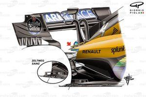 McLaren MCL35, dettaglio dello sfogo, GP d'Ungheria