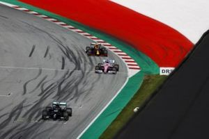 Lewis Hamilton, Mercedes F1 W11 EQ Performance, Sergio Perez, Racing Point RP20 and Alex Albon, Red Bull Racing RB16