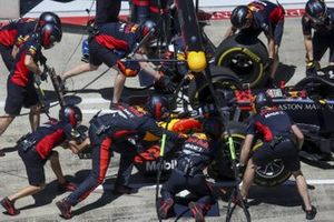 Red Bull pit stop practice with the car of Max Verstappen, Red Bull Racing RB16