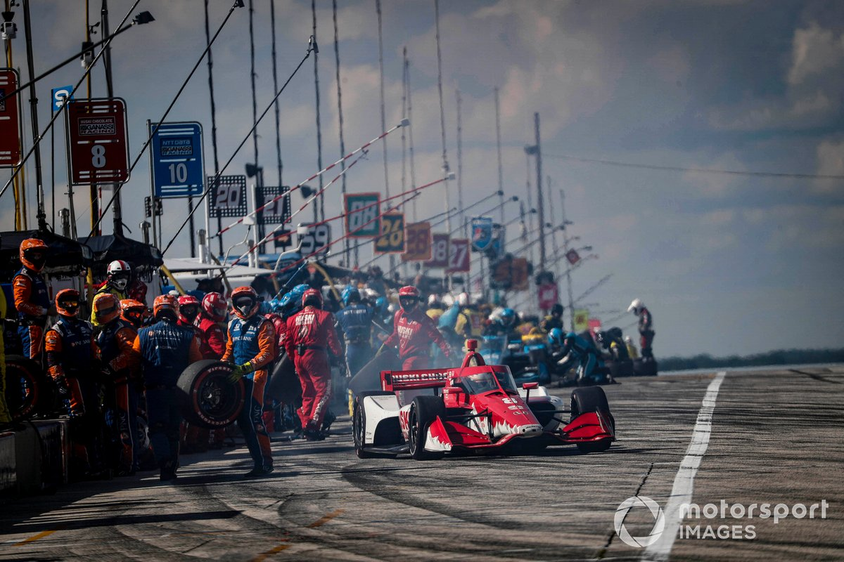 Marcus Ericsson, Chip Ganassi Racing Honda, pit stop