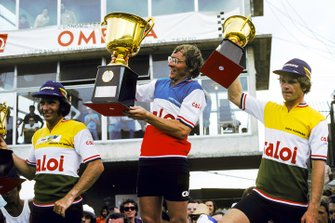 The podium for the bike race around the Interlagos circuit: Emerson Fittipaldi, Copersucar-Fittipaldi, Larry Perkins, Stanley Stanley BRM, Ingo Hoffmann, Copersucar-Fittipaldi