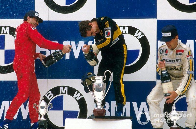 Ayrton Senna, Lotus, Michele Alboreto, Ferrari, Patrick Tambay, Renault