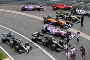 Pole sitter Valtteri Bottas, Mercedes AMG F1, celebrates on arrival in Parc Ferme
