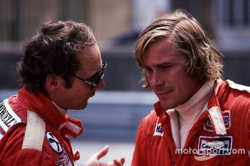 Niki Lauda, Ferrari and James Hunt, McLaren