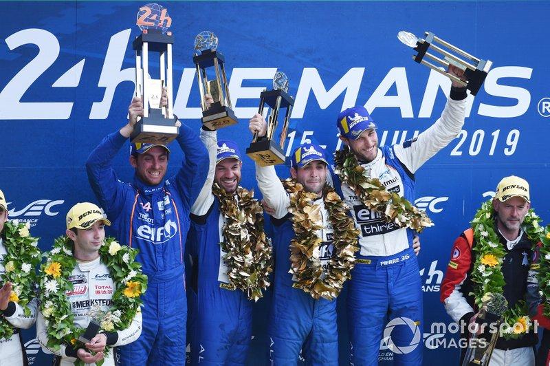 LMP2 podium: Winners #36 Signatech Alpine Matmut Alpine A470: Nicolas Lapierre, Andre Negrao, Pierre Thiriet