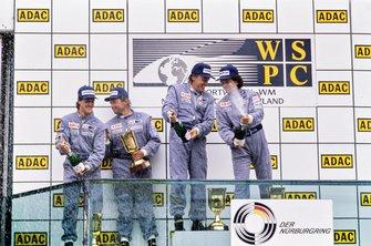 Jean-Louis Schlesser, Mauro Baldi, Mercedes-Benz C11, celebrate with Michael Schumacher, Jochen Mass, Mercedes-Benz C11