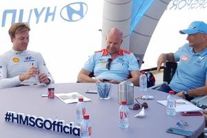 Andreas Mikkelsen, Hyundai Motorsport, Andrea Adamo, Team principal Hyundai Motorsport, Gabriele Tarquini