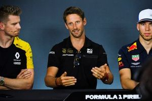 Nico Hulkenberg, Renault F1 Team, Romain Grosjean, Haas F1 and Pierre Gasly, Red Bull Racing in Press Conference