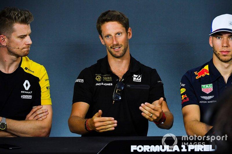 Nico Hulkenberg, Renault F1 Team, Romain Grosjean, Haas F1 y Pierre Gasly, Red Bull Racing en conferencia de prensa
