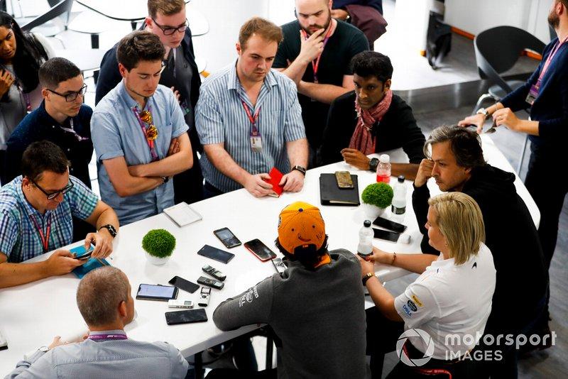 Carlos Sainz Jr., McLaren speaks with the media
