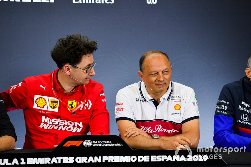 Mattia Binotto, Team Principal Ferrari, and Frederic Vasseur, Team Principal, Alfa Romeo Racing, in a Press Conference