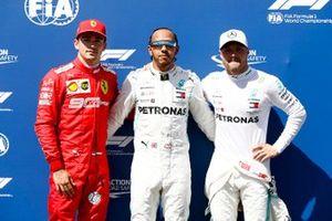 Обладатель поула Льюис Хэмилтон, второе место – Валттери Боттас, Mercedes AMG F1, третье место – Шарль Леклер, Ferrari