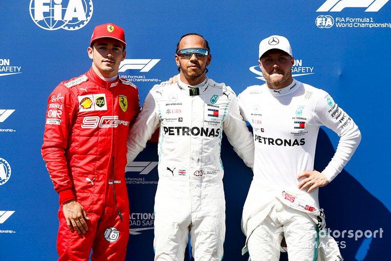 Charles Leclerc, Ferrari, Lewis Hamilton, Mercedes AMG F1 y Valtteri Bottas, Mercedes AMG F1