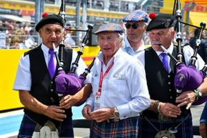 Jackie Stewart Birthday photograph with drivers and team principles