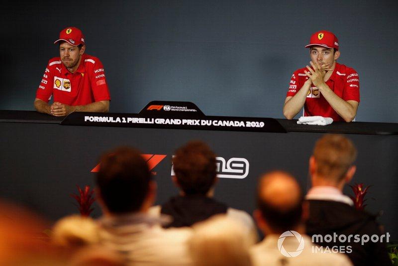 Sebastian Vettel, Ferrari and Charles Leclerc, Ferrari in Press Conference