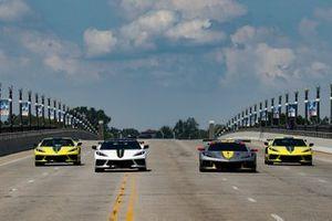 IMSA edition Corvettes on Belle Isle Bridge