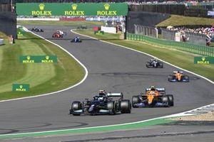 Valtteri Bottas, Mercedes W12, Lando Norris, McLaren MCL35M, Daniel Ricciardo, McLaren MCL35M, and Sebastian Vettel, Aston Martin AMR21