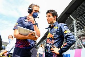 Sergio Perez, Red Bull Racing, on the grid with his engineer