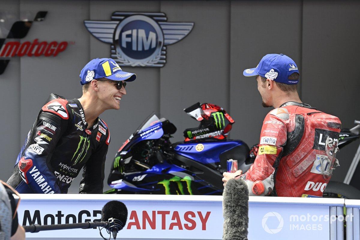 Ganador de la pole Fabio Quartararo, Yamaha Factory Racing, Jack Miller, Ducati Team