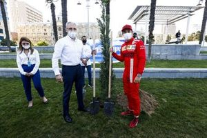 Charles Leclerc, Ferrari, and Azad Rahimov, Azerbaijan Sports Minister plant a tree for World Environment Day