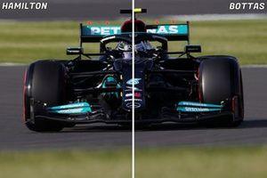 Mercedes W12 rear wing comparison