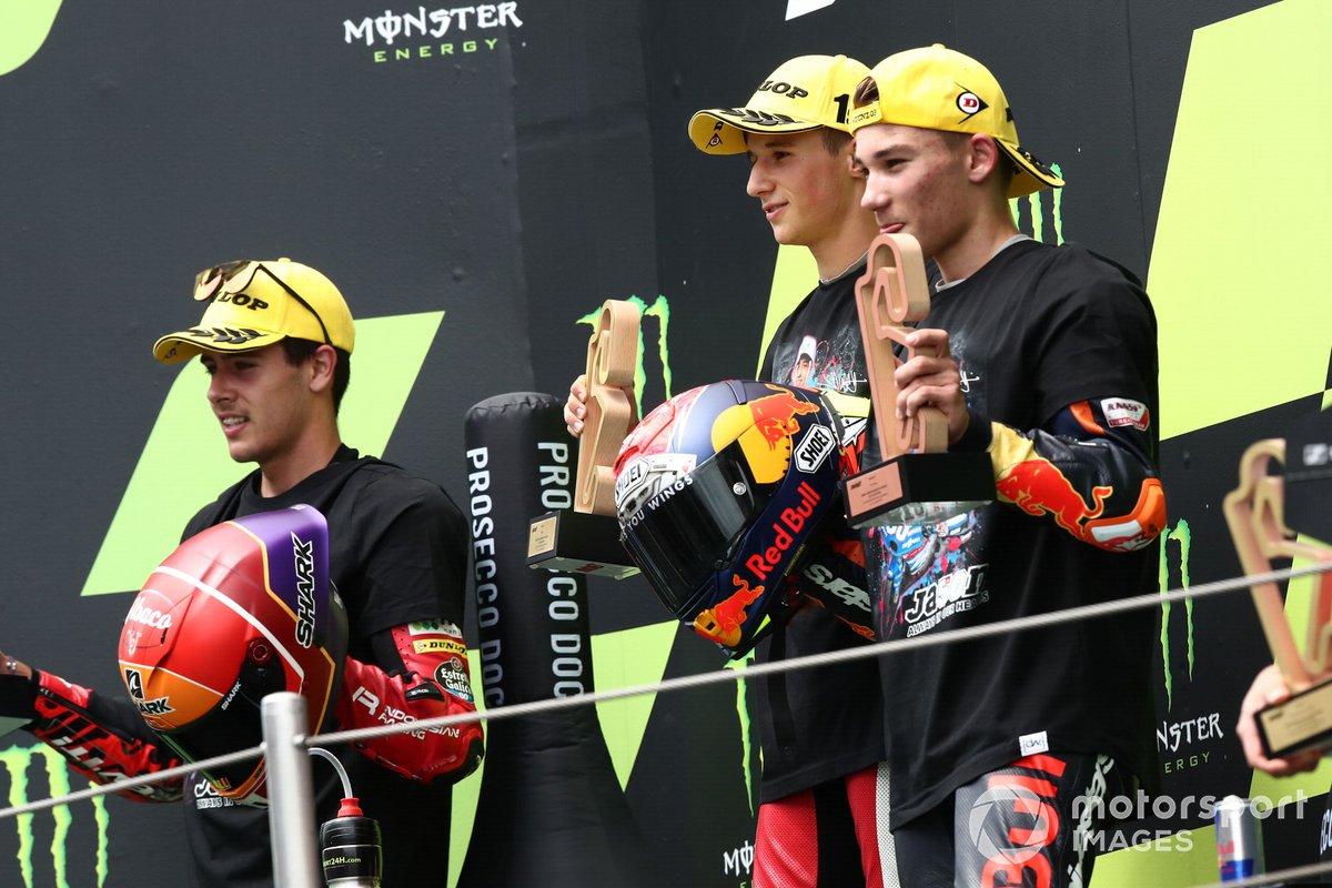 Podium: race winner Sergio Garcia, Aspar Team Moto3, second place Jeremy Alcoba, Team Gresini Moto3, third placeDeniz Oncu, Red Bull KTM Tech 3